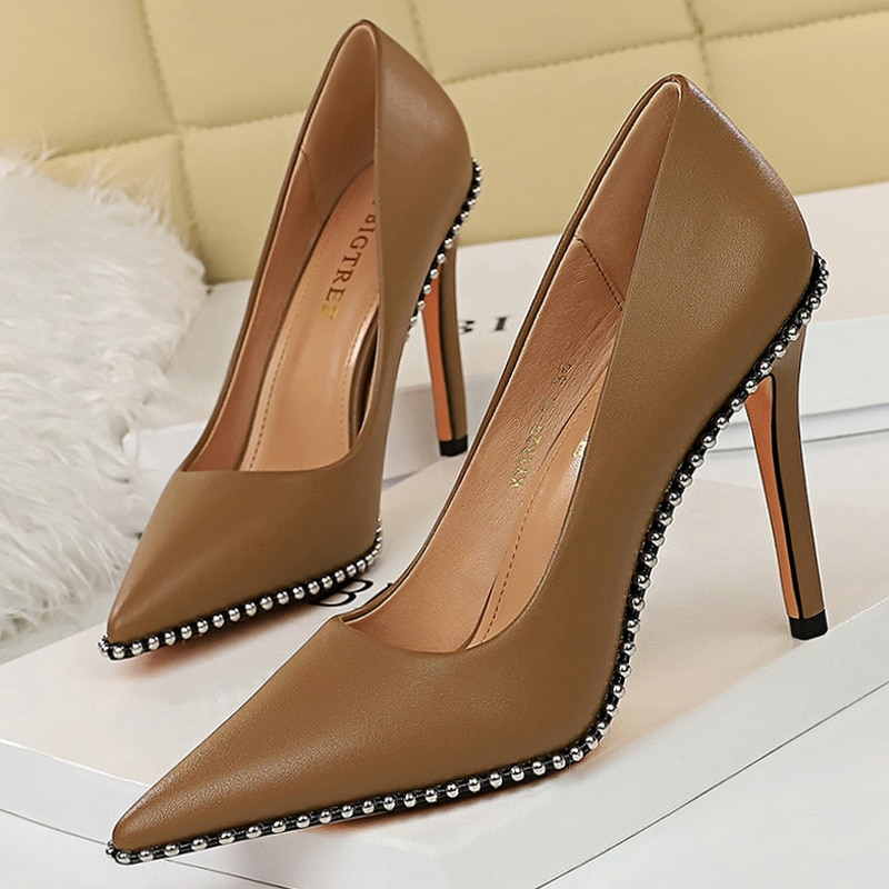BIGTREE Shoes Sexy Rivets String Bead Women Pumps Pu Leather Shoes High Heels Women Office Shoes Sti