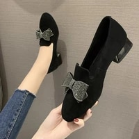 3cm women pumps black flock boat shoes low heels dress shoes bling butterfly knot slip on shoe ol office ladies shoes