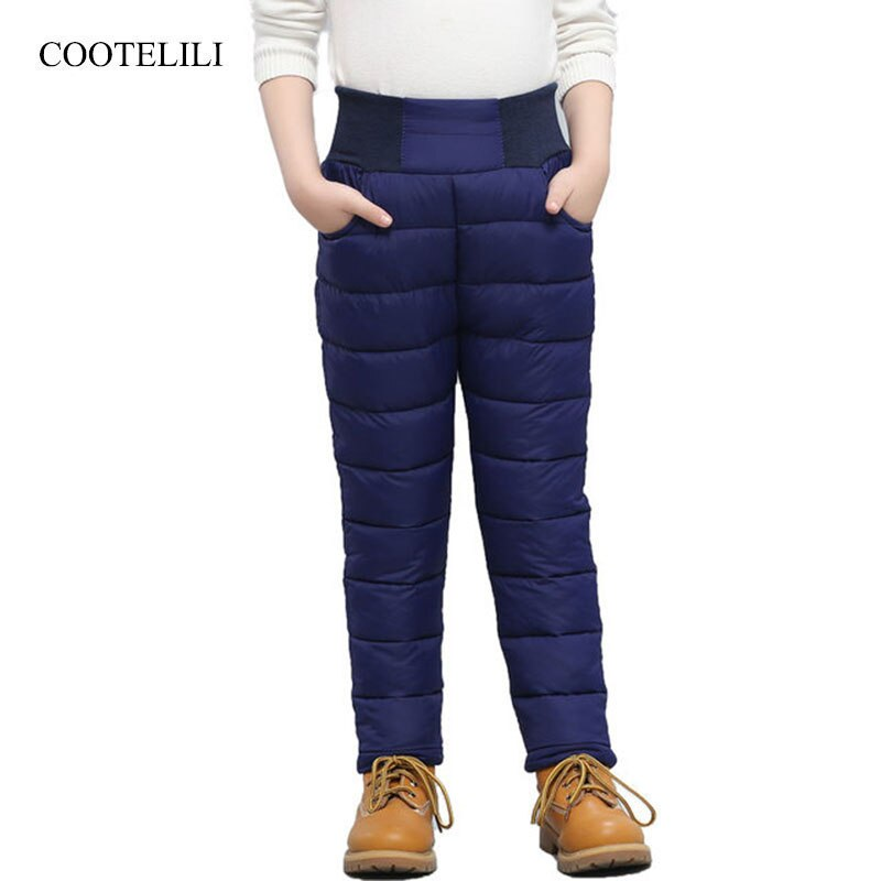 COOTELILI pantalones de invierno cálidos para niños niñas de cintura alta ropa de niños pantalones de Niño Pantalones largos 100 -140cm
