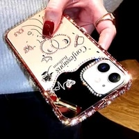 rhinestone beauty mirror luxury case for iphone 6s plus 6 phone case cover