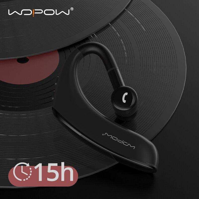 WOPOW Bluetooth 5.0 Wireless Headphone Ear Hook Business Single Earphone 15Hrs HD Call 170mAh Standby Handsfree Headset with Mic