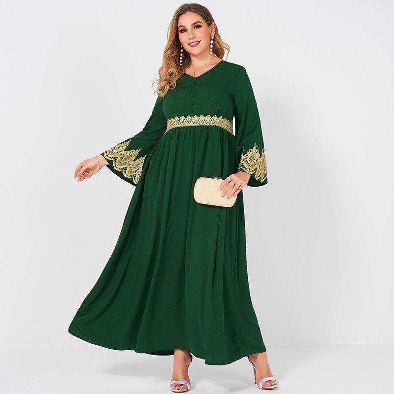 Женское вечернее платье макси, Зеленое Длинное банкетное платье с V-образным вырезом и кружевной строчкой, облегающее платье с длинным рукавом, 4XL, весна-осень | Женская одежда | АлиЭкспресс
