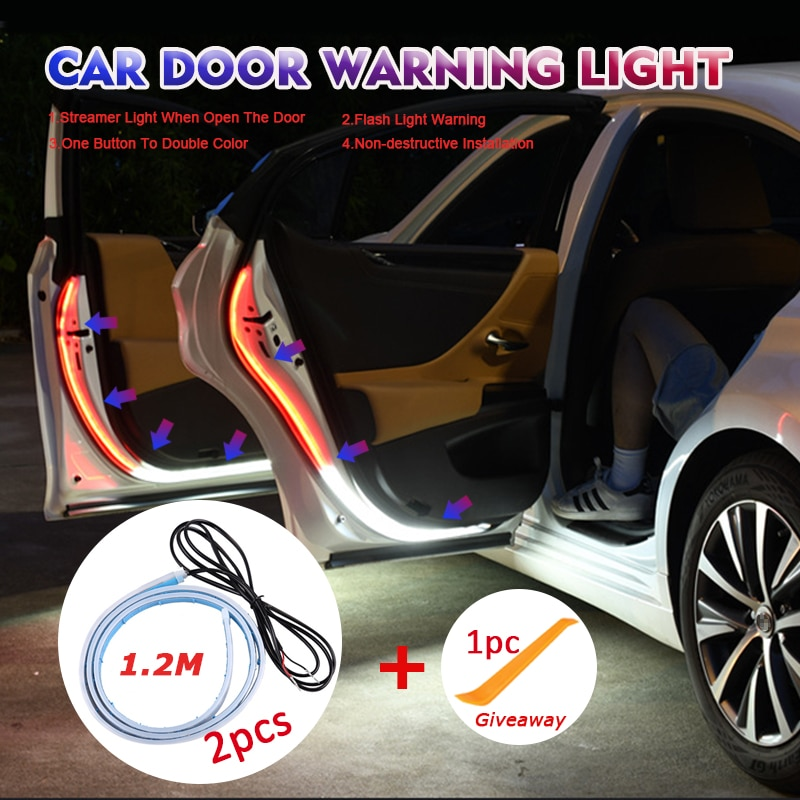 Автомобильные сигнальные огни, открывающиеся на двери, Автомобильный светодиодный динамический стробоскоп, желанная лампа, Универсальная ...