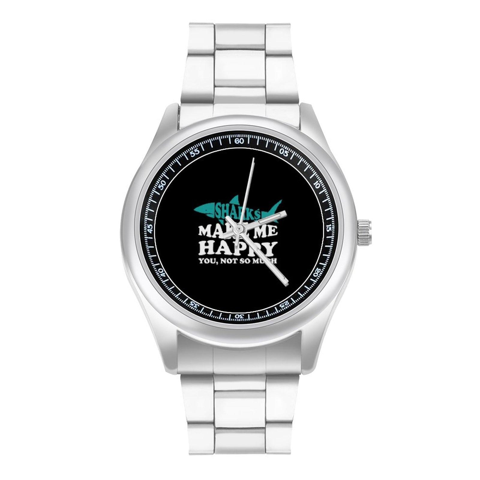 Shark Quartz Watch Gym Neat Wrist Watch Stainless Design Wideband Lady Wristwatch