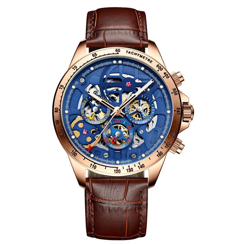 AILANG2019 جديد ساعة رجالية ساعة ميكانيكية التلقائي الرجال التكنولوجيا السوداء جوفاء ساعة رجالي مضادة للماء