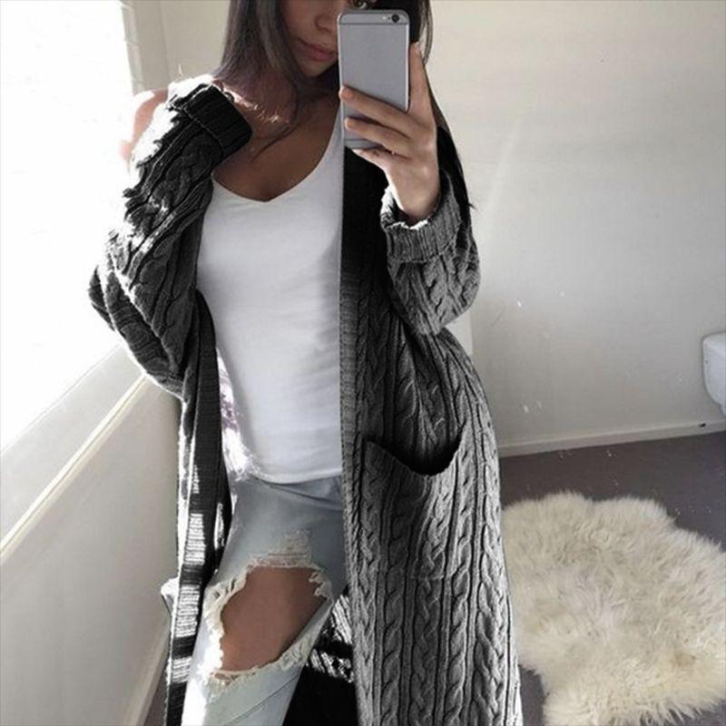Autumn/Winter Knitwear Long Double Pockets Full Body Twist Sweater Cardigan Coat women,Women's coat,traf enlarge