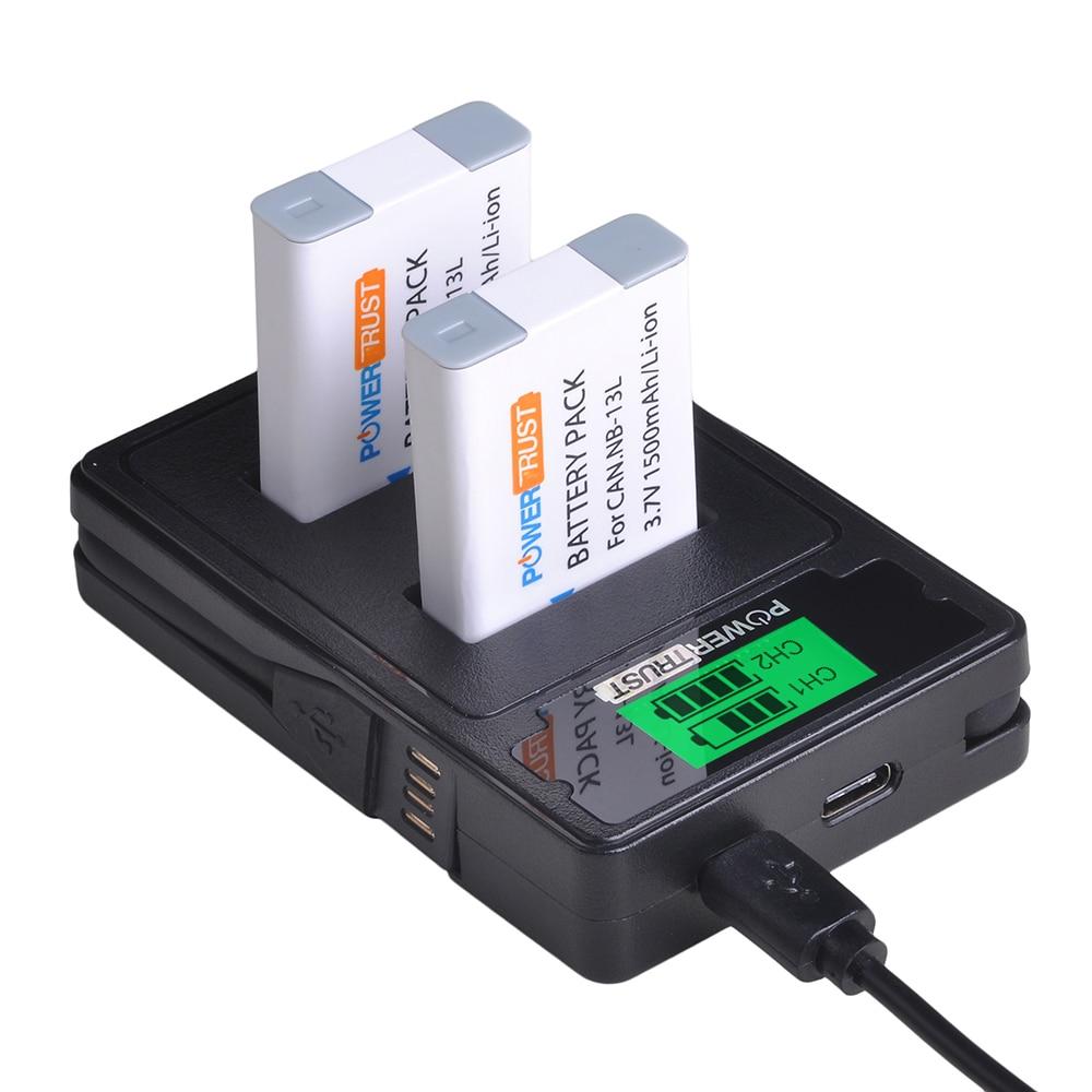 2x 1500mAh NB-13L NB13L NB 13L Battery + LCD USB Charger for Canon G7 X Mark II G7X G5 X G5X G9 X G9X SX620 SX720 HS Batteries