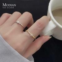 Женское кольцо на палец Modian, блестящее тонкое составное кольцо из стерлингового серебра 925 пробы с прозрачным кубическим цирконием, изящная...