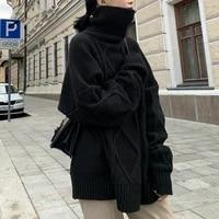 all match twist stitch turtleneck sweater women plus size pullover oversized long sweater sweater fashion 2021 winter new style