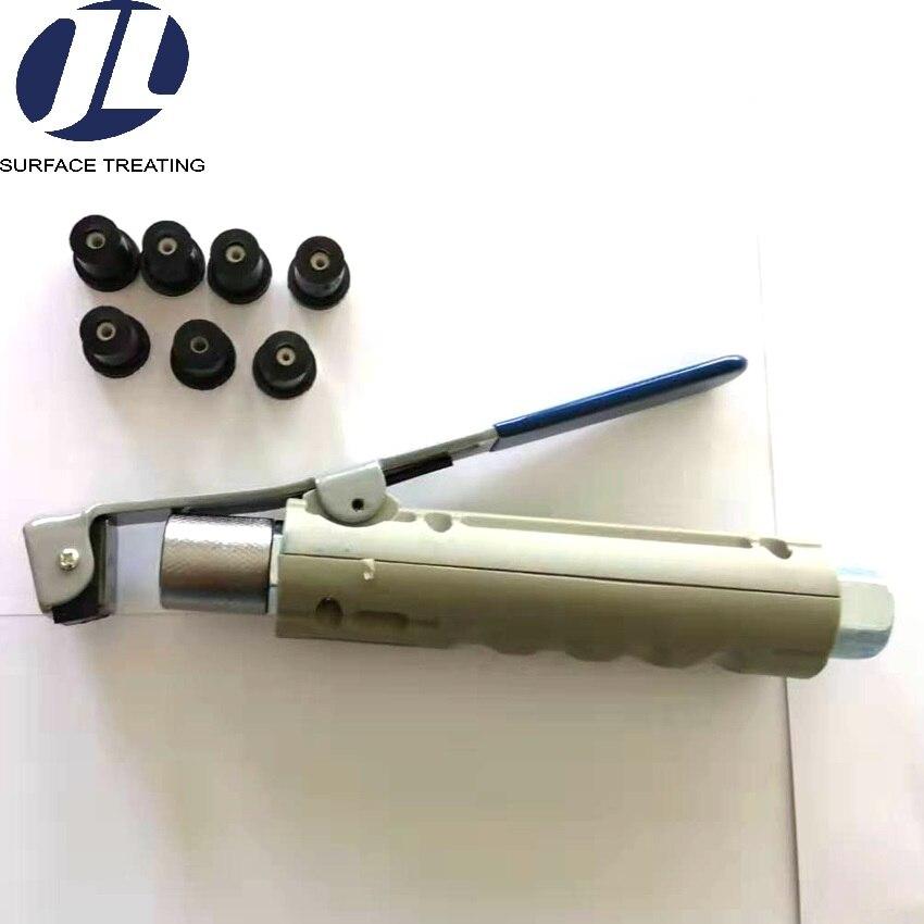 Piaskowanie pistolet pistolet, przenośny pistolet piaskarka z 7 sztuk piasek blaster dysza do piaskowania zestawu dla mini piaskowanie pot
