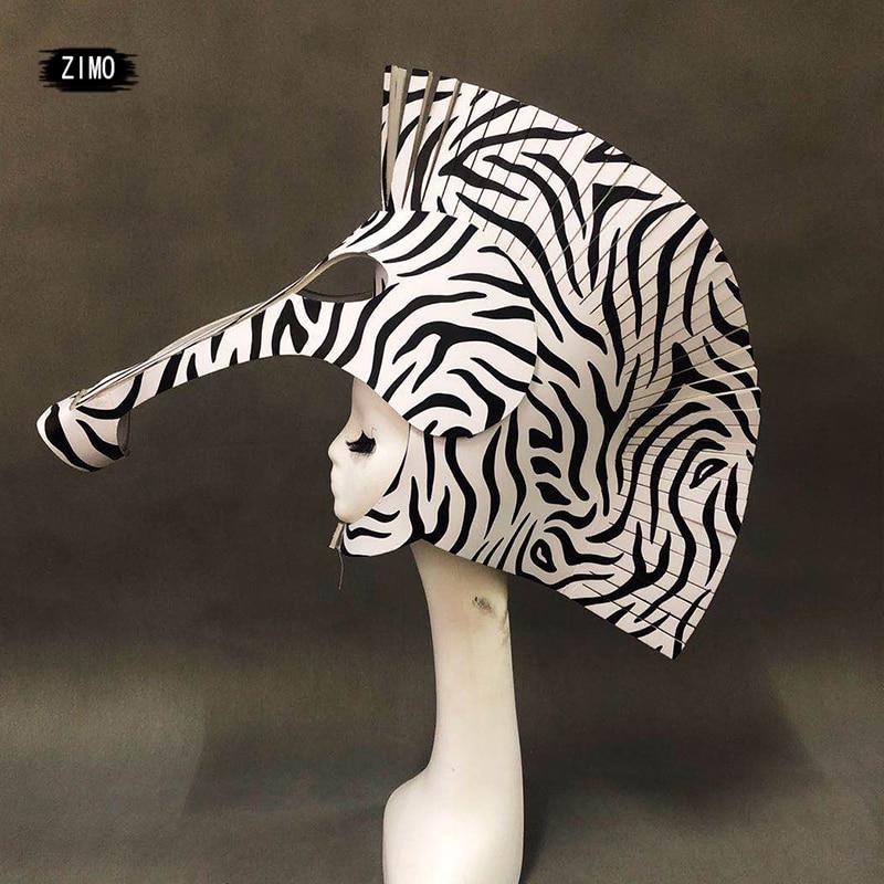 Adultos Halloween cabeza de cebra Cosplay Prop rave accesorios para festival club nocturno etapa gogo performance burning man sombrero de disfraces nuevo