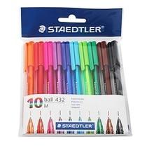 Staedtler balle 432 M Triangle support stylo à bille roller stylo 0.7mm 10 multicolore ensemble fournitures de bureau et scolaires