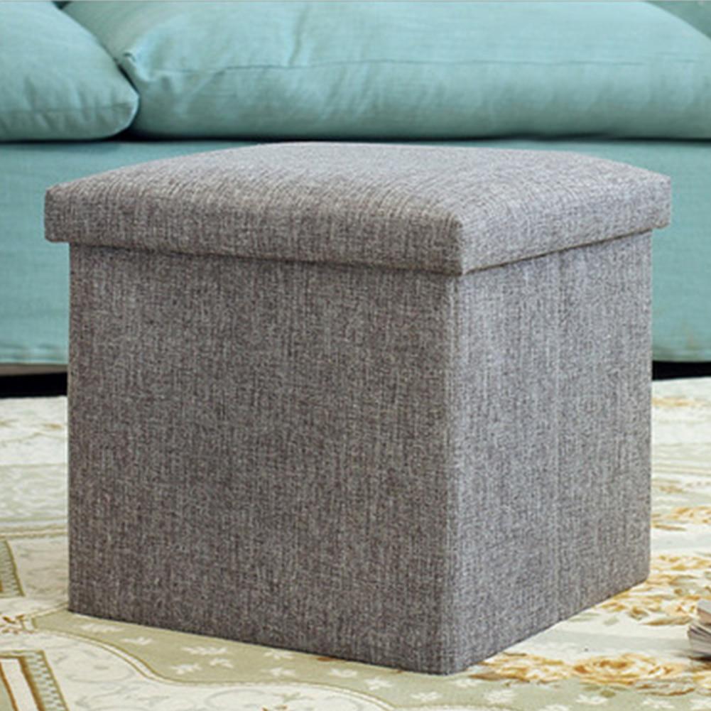 بسيط كرسي بلا ظهر قابل للطي صندوق تخزين شكل مكعب مقعد بوفي كتان قوي الحمولة قدرة عملي متعدد الوظائف قابل للطي