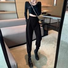 Women's Korean-Style Black Cargo Slimming Versatile High Waist Suit Straight Loose Casual Dad Harem