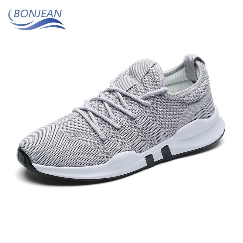 Bonjean malha respirável tênis de corrida leve ao ar livre amortecimento jogging confortável sapatos caminhada zapatos de hombre