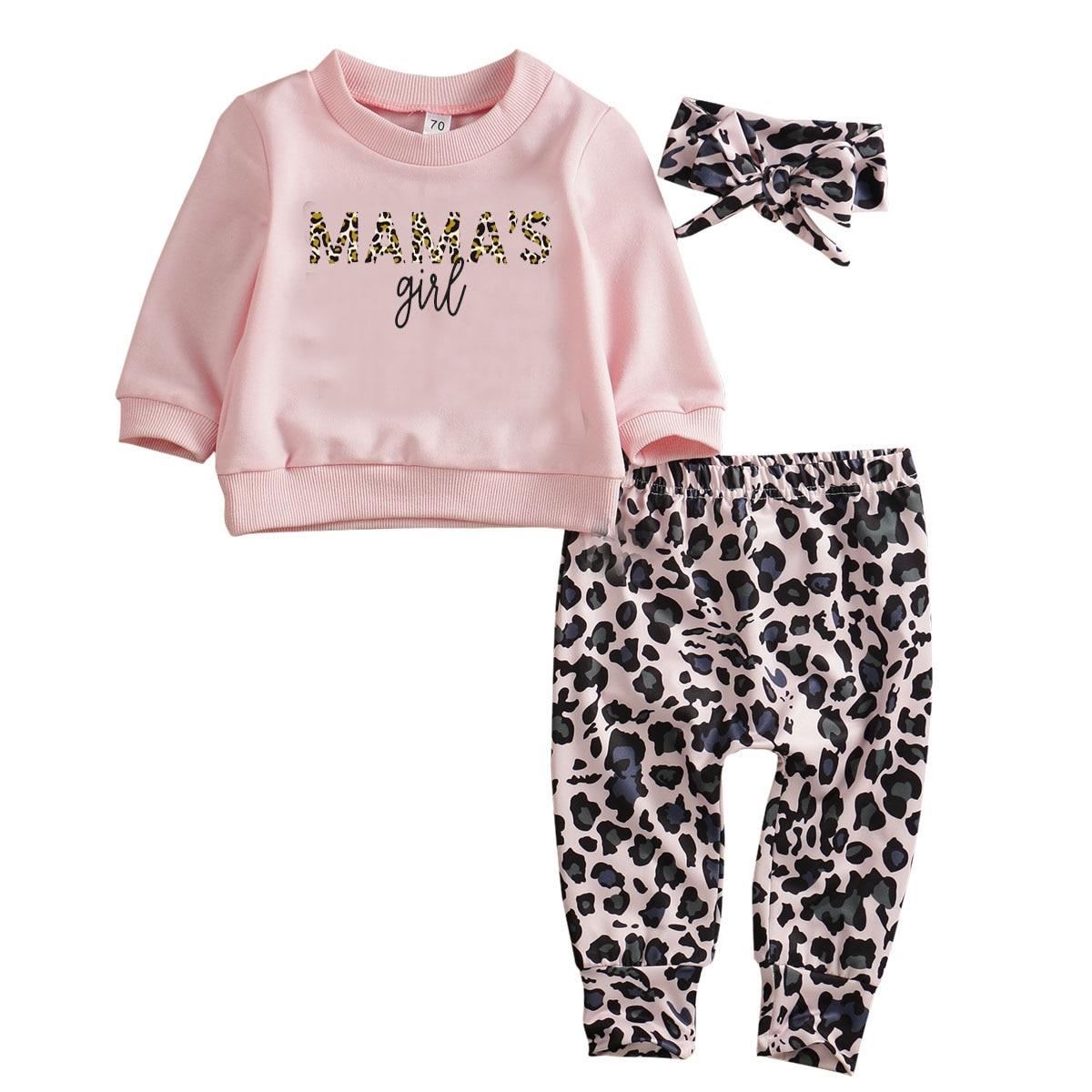 Us recém-nascido roupas da menina do bebê camiseta superior calças de leopardo bandana outfits