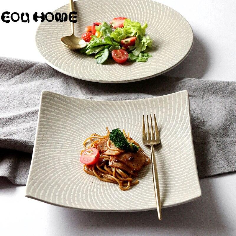 1Pce Pastoral, PARA CENA platos de cerámica, plato profundo para carne, ensalada, postre, aperitivo, platos, plato de pez de porcelana, vajilla, plato para pastel