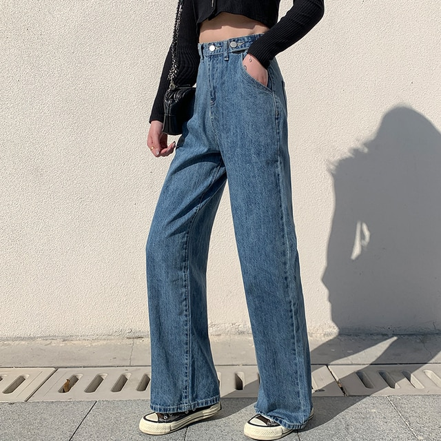 Spring and Autumn New Women's Jeans High Waist Clothes Wide Leg Jeans Blue Street Style Retro Quality Fashionable Straight Pants 2