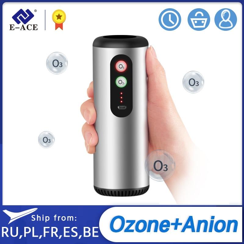 E-ACE M03 Car Ozone Generator HEPA Filter Filter Fresh Air Anion Air Purifier for Car Home Office Air Cleaner Air Ionizer