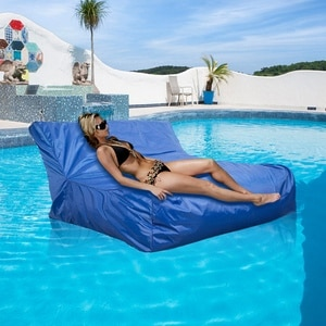 Swimming Pool Floating Bean Bag Cover Waterproof Reading Relaxing Soft Lounge Chair Sofa blue