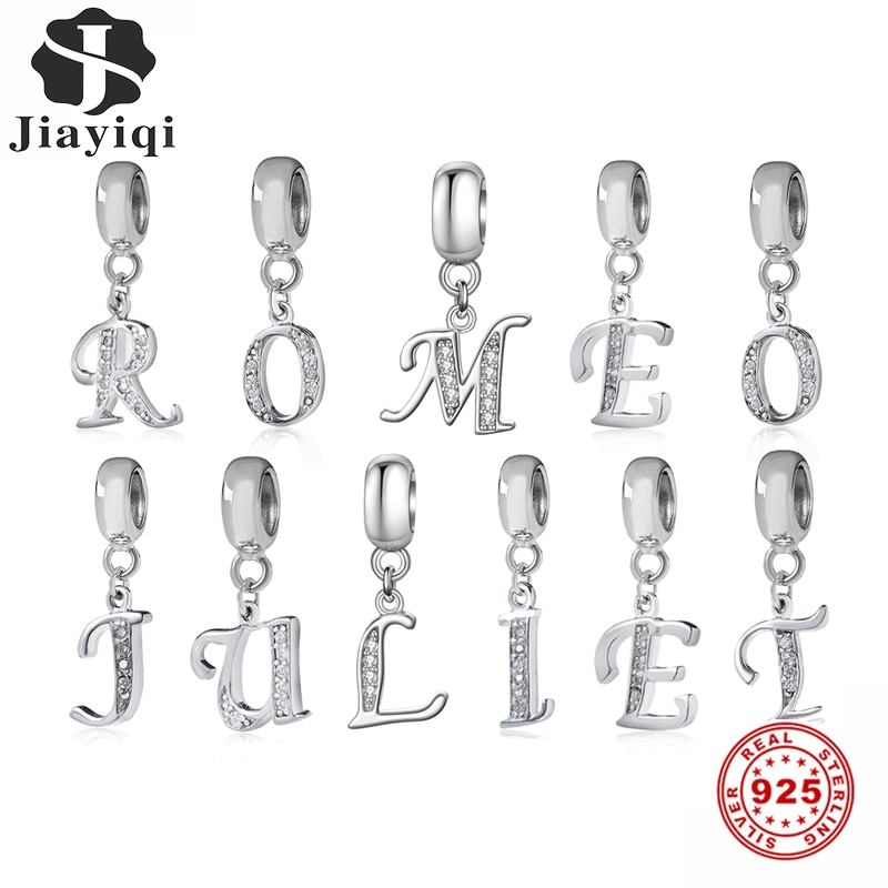 Jiayiqi A To Z Letter Charms 925 Sterling Silver CZ Beads Fit Women Original DIY Jewelry Gift Making