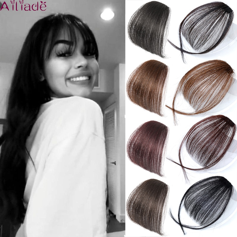 AILIADE Fake Blunt air Bangs hair Clip-In Extension Synthetic Fake Fringe Natural False hairpiece For Women Clip In Bangs