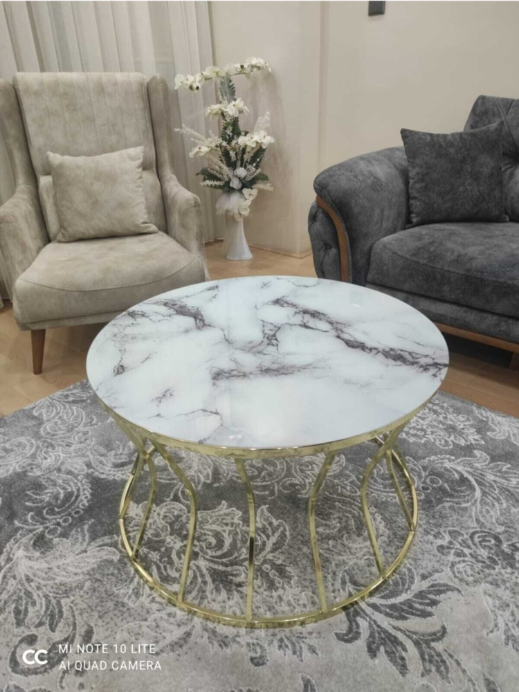 Mesa de centro moderna reloj de arena mesa de centro grande marmol estampado cristal irrompible