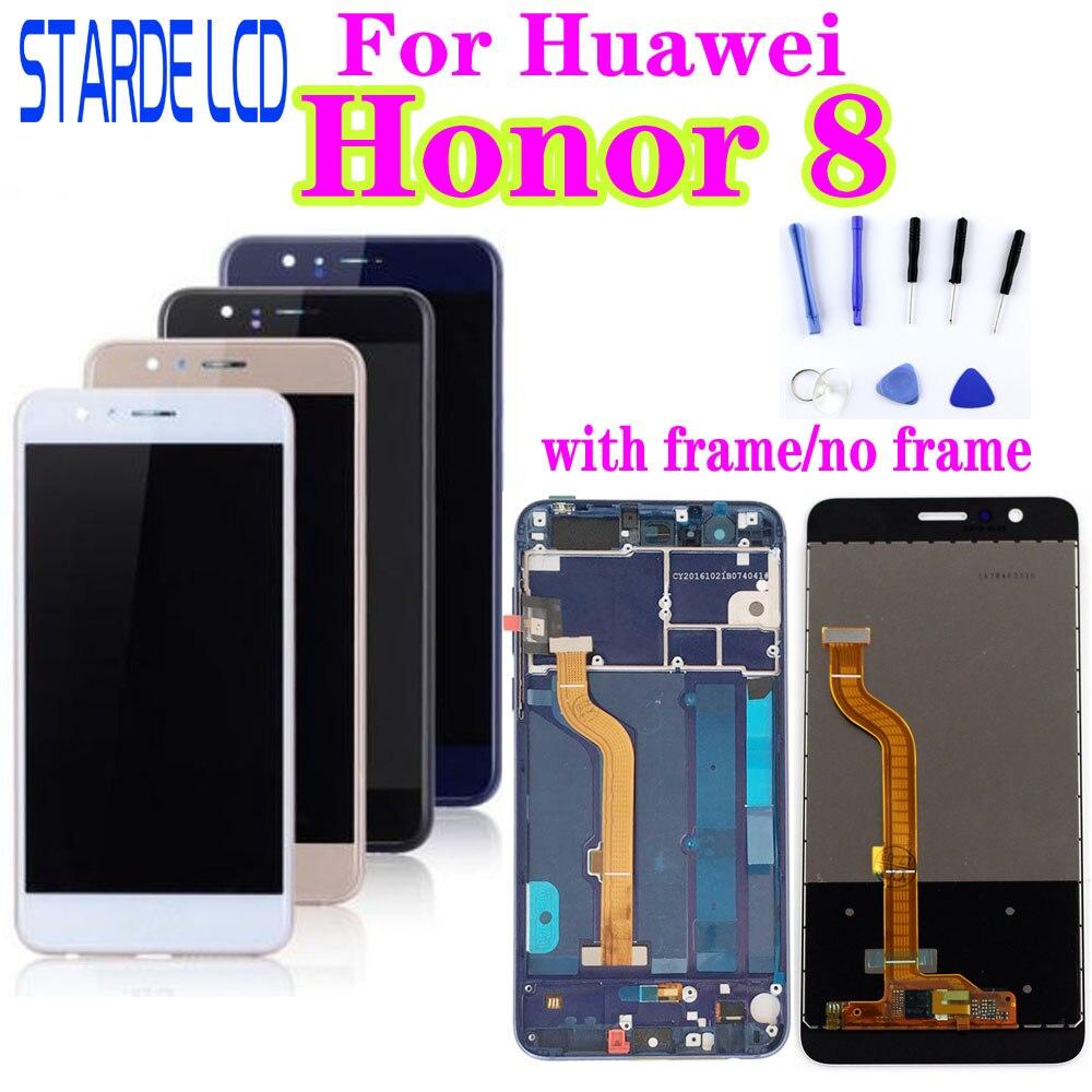 Para Huawei Honor 8 LCD Display Digitalizador de pantalla táctil Honor8 LCD con marco FRD-L19 FRD-L09 de repuesto
