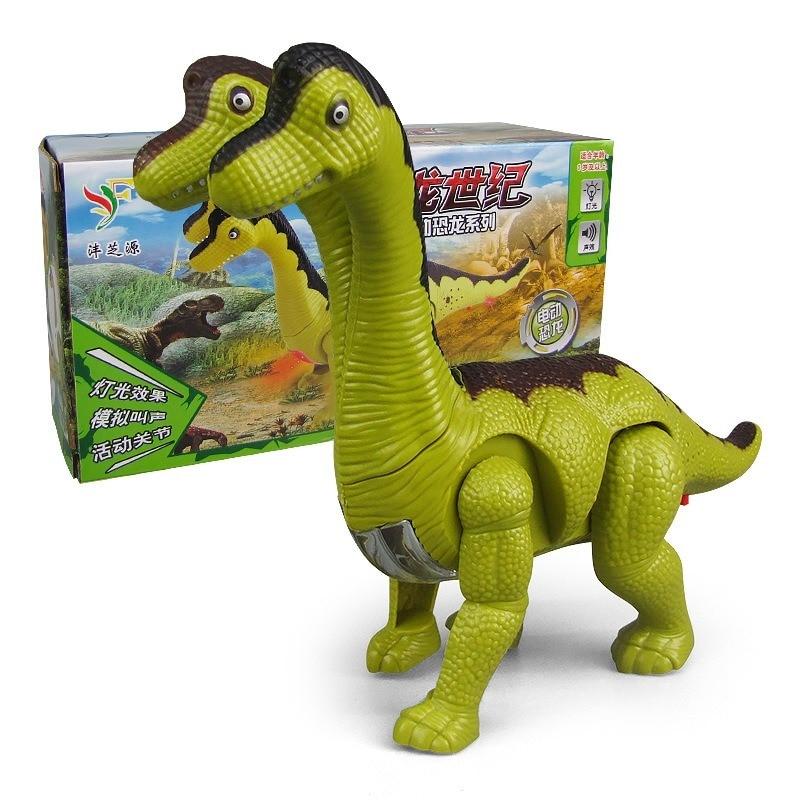 Новый детский электрический игрушечный динозавр, мягкий светильник, автоматический звуковой эффект для ходьбы, двухголовый дракон, подаро...