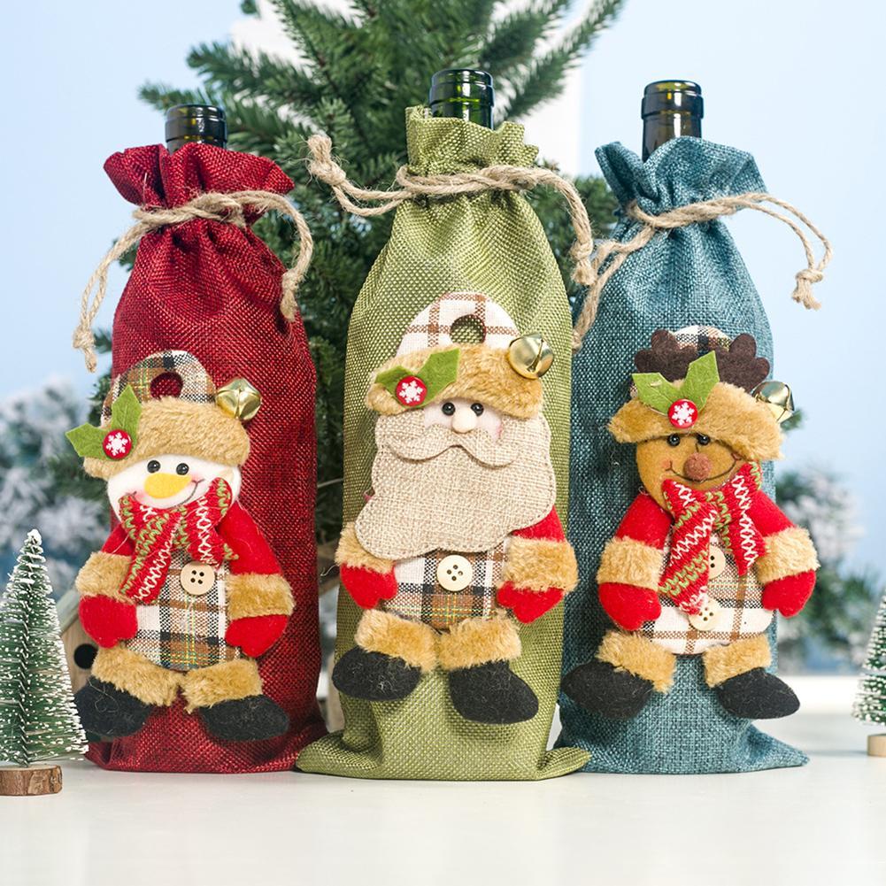 Xmas Santa Deer cordón botella de vino cubierta bolso para champán vacaciones...
