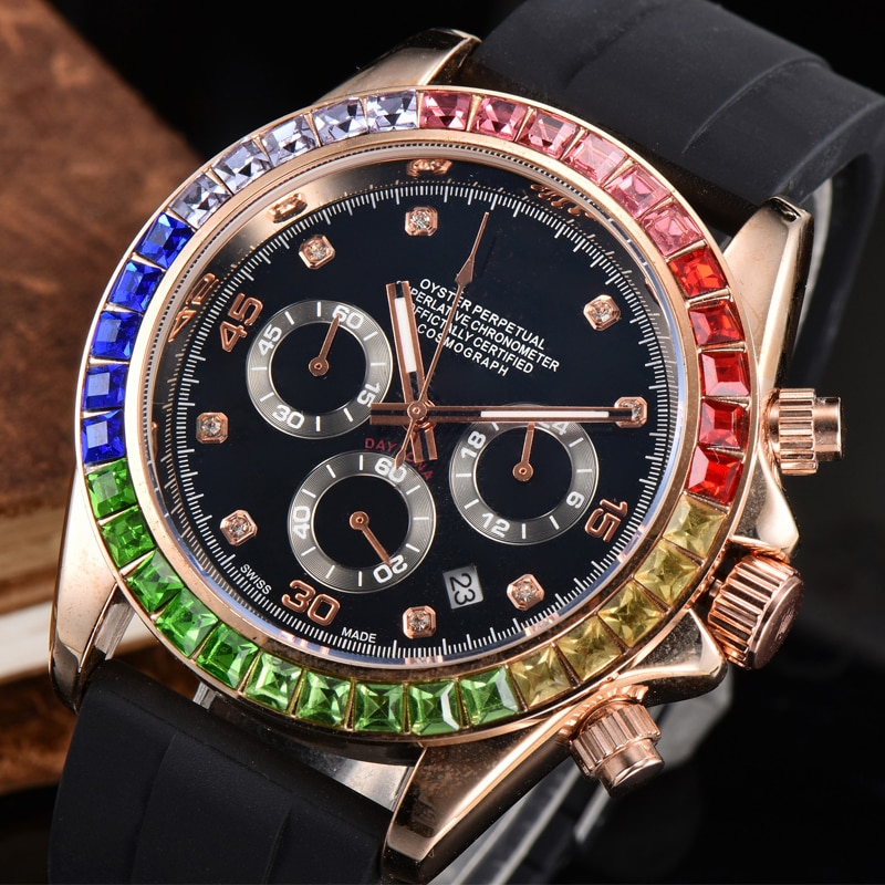 Top Brand Luxury Diamond Men's Watch Classic Business Digital Waterproof Quartz WristWatch Clocks Fa