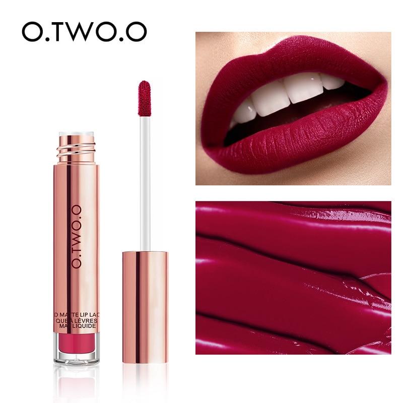 O.TWO.O brillo de labios 12 colores mate tinte de labios de larga duración impermeable líquido lápiz labial vino tinto maquillaje de labios mate cosmético de labios TSLM1