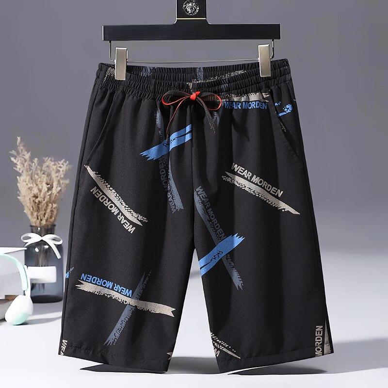 Длинные летние беговые шорты HENG, повседневные шорты, мужские свободные шорты с принтом