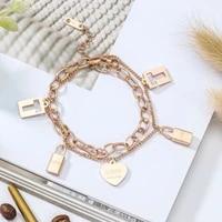 tassels heart lock charm bracelets bangles for women gold color bracelet titanium steel bracelets