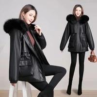 large fur collar plus velvet leather cotton coat mid length 2021 new pie overcoming fashionable leather winter jacket women dw08