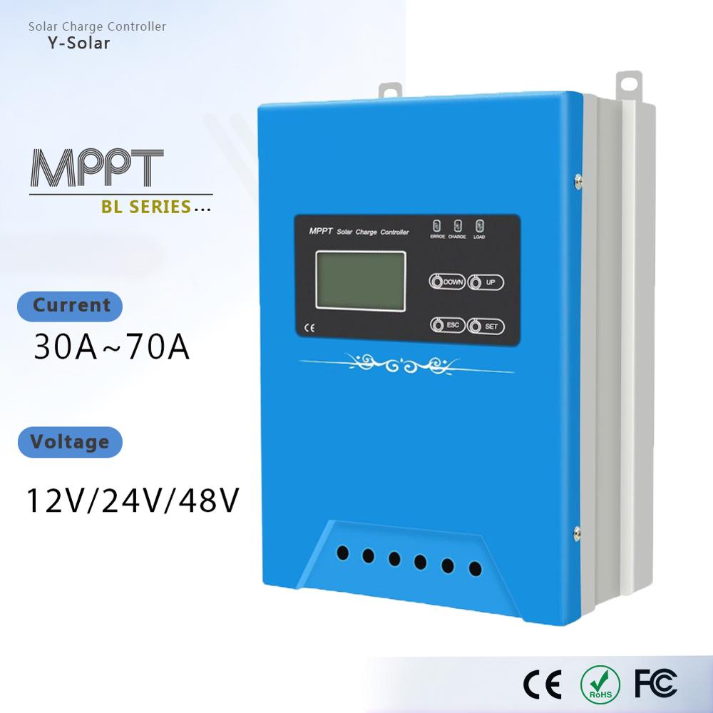 Controlador de carga Solar MPPT BL-30A 40A 50A 60A 70A 12V 24V 48V módulos de dispositivo móvil cargador de batería Panel Solar regulador PV