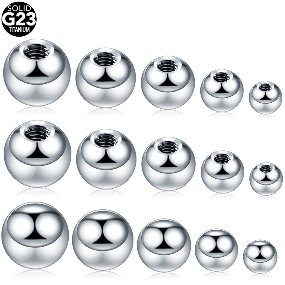 G23 titânio parafuso bolas acessórios de substituição jóias do corpo para lábio nipple sobrancelha brincos umbigo anel língua piercing 14g 16g