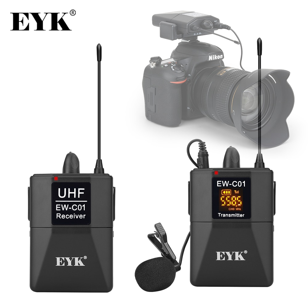 EYK EW-C01 30 قنوات UHF اللاسلكية Lavalier ميكروفون نظام مع يده نمط طية صدر السترة الميكروفون مقابلة ل SLR كاميرا كاميرا