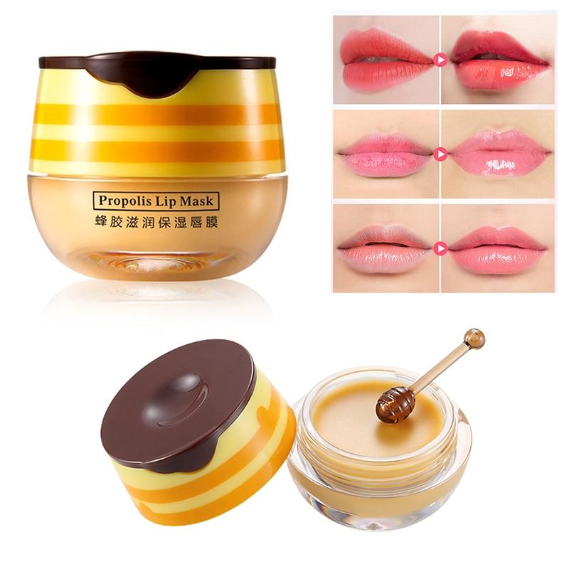 1PC Moisture Propolis Lip Balm Long-Lasting Moisturizing Lip Mask Honey Sleep Balm Nourishing Anti-wrinkle Lip Care Makeup TSLM2