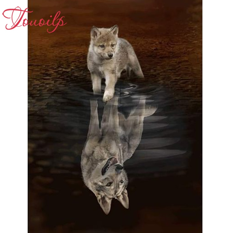 Mosaicos de diamante bordado diamante pintura da lona bordado de pérolas beads reflexão do cão Lobo needlework diy pintura diamante adesivos