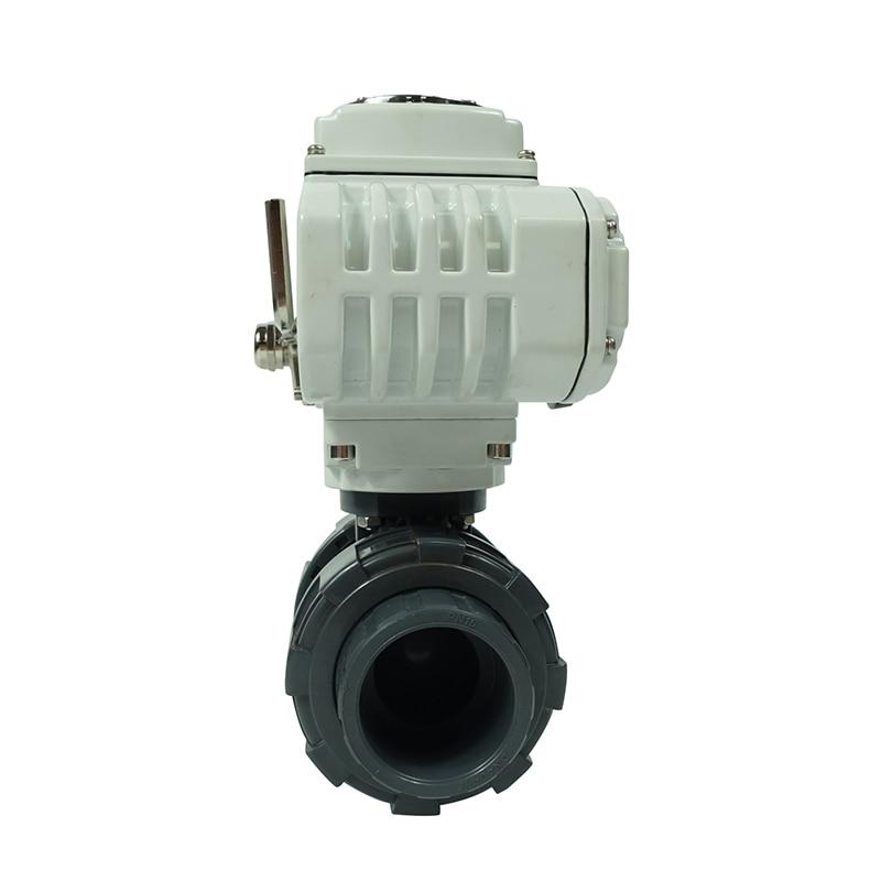 DKV high efficiency 220V 1 inch pvc water plastic  thread electric ball valves enlarge