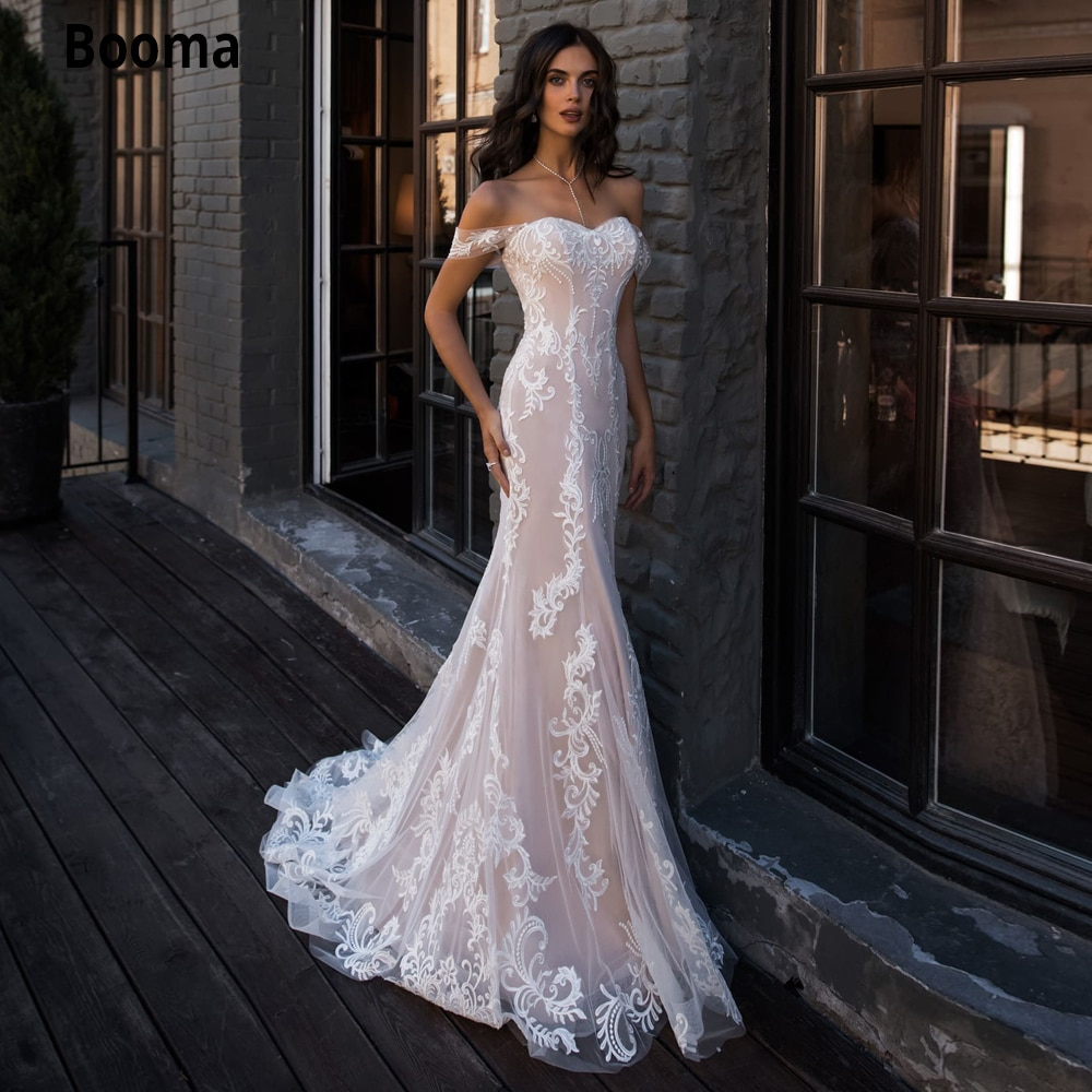 Booma Light Pink Wedding Dresses Mermaid Lace appliques Lace-up Bridal Gown Vintage Open Back Princess Party Custom Made