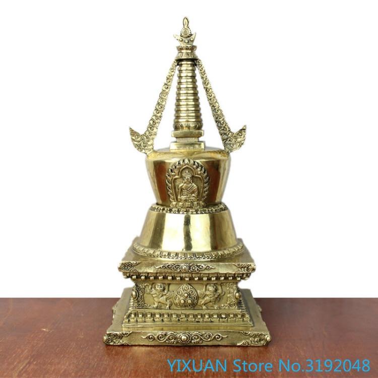 Elaborate Tibetan Buddhism Brass Shakyamuni Pagoda Statue