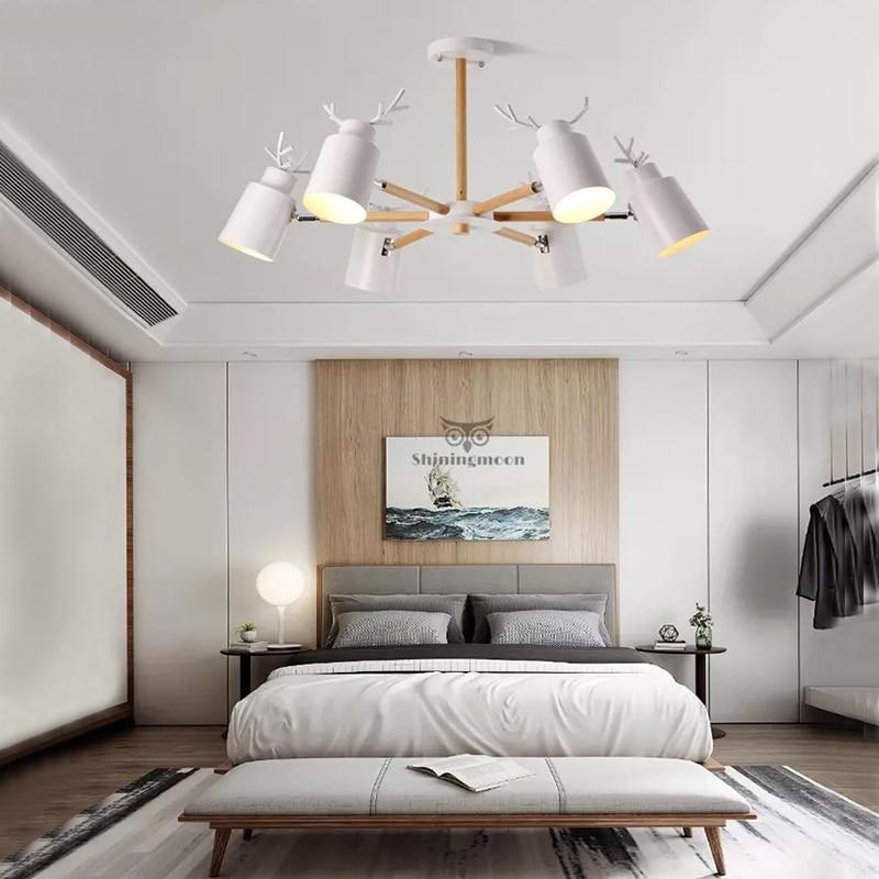 الشمال خشبية معدنية مصباح فندق مطعم قرن الوعل LED الثريا غرفة المعيشة غرفة نوم E27 الإضاءة بالجملة