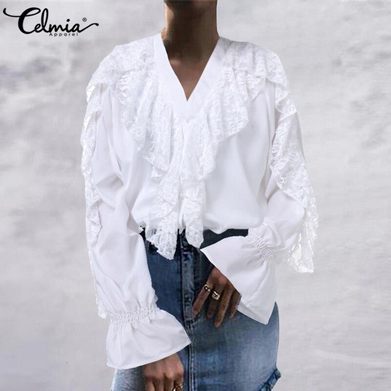 Moda feminina babados blusas celmia primavera verão manga longa branco rendas camisas feminino com decote em v casual elegante ol blusas 7