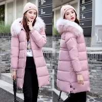 jacket women new style parka womens slim fur collar long thick solid color cotton coat womens coats winter
