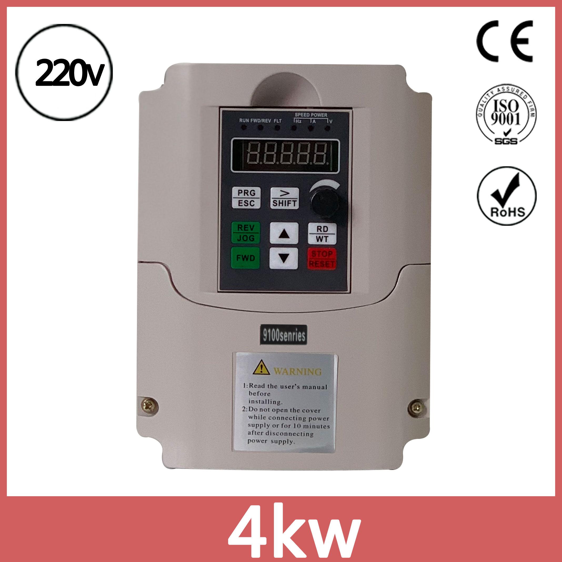 Omzetten 220V Eenfase Ingang 220V Drie Fase Uitgang 4kw Vfd Frequentieregelaar Inverter