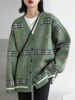 Loose V-neck Plaid Knitted Cardigan Sweater Coat Women's Autumn