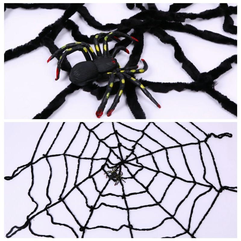 2019 nueva falsa araña Web decoraciones de Halloween escalofriante Interior Exterior patio casa embrujada fiesta suministros producto realista