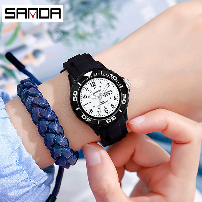 SANDA Women's Sports Watch waterproof Date Simple Analog Watches Ladies Quartz Clock Luxury Anti-Shock Resin Strap montre femme enlarge